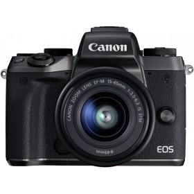 Aparat Foto Mirrorless Canon EOS M5, Negru cu Obiectiv EF-M 15-45mm IS STM