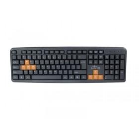 """Tastatura Standard """"QWERTY"""", Taste WASD Customizate (Portocaliu si Negru), USB"""