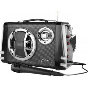 Boxa Portabila Media-Tech Karaoke Boombox BT, Radio FM, MP3 Player, 20W RMS, cu Subwoofer si Difuzoare Stereo, Incinta Lemn, USB + SD, Telecomanda, Antena, Negru