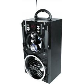 Boxa Portabila Media-Tech Partybox BT, Radio FM, MP3 Player, 18W RMS, cu Subwoofer, Incinta Lemn, USB + SD, Telecomanda, Antena, Negru