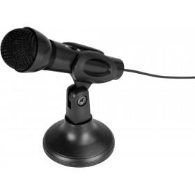 Microfon de Birou Media-Tech MICRO SFX de Inalta Calitate cu Buton On/Off, Filtrare Zgomot, Suport Birou, Design Mini, Negru
