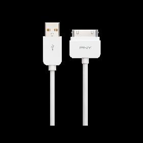 Cablu PNY pentru Apple 30 pini 1.8m, pentru incarcare si sincronizare, Alb