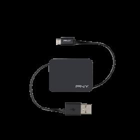 Cablu PNY retractabil, pentru incarcare si sincronizare dispozitive mobile cu mufa Micro-USB, negru